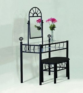 modern bedroom vanity table foter 11700 | black metal bedroom vanity with glass table bench set 2 s pi