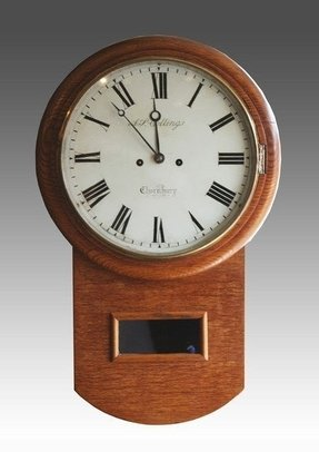 Drop fusee oak wall clock