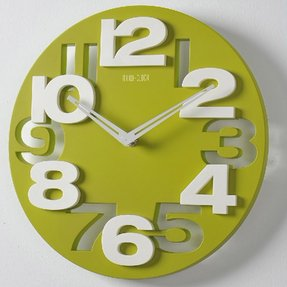 ECOOPROR 3D Big Digital Modern Contemporary Home Office Decor Round Quartz Wall Clock Green