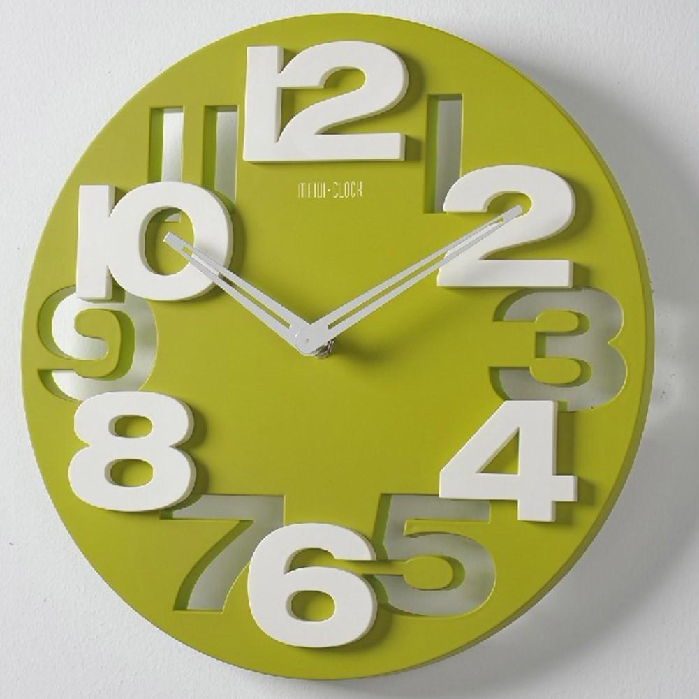 ECOOPRO® 3D Big Digital Modern Contemporary Home Office Decor Round Quartz Wall  Clock Green