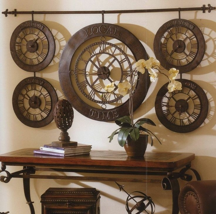 Extra large international times of the world wall clock antique
