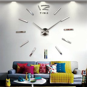 Hengsong - Luxury DIY 3D Home Art Decorations Mirror Frameless Wall Clock Large Hours (Silver)