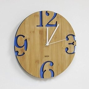 Homeloo Bamboo Numeral Cutter Unique Modern Wall Clock (Blue)