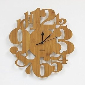 Homeloo Bamboo Numeral Forest Unique Modern Wall Clock