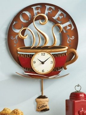 Hot coffee cup decorative metal wall art kitchen clock novelty