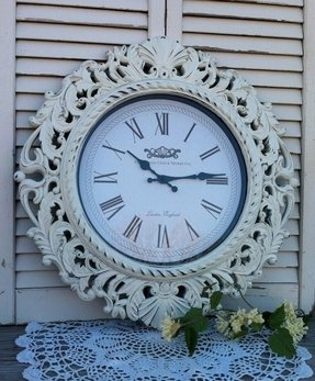 Large baroque wall clock ornate shabby