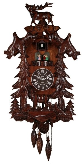 Large Deer Handcraft Wood Cuckoo Clock with 4 Dancers Dancing with Music cc106