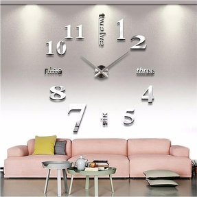 Large diy home decoration big mirrorred wall clock modern design
