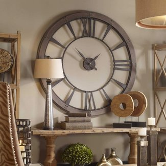 Large metal wall clock office gameroom gray industrial warehouse style