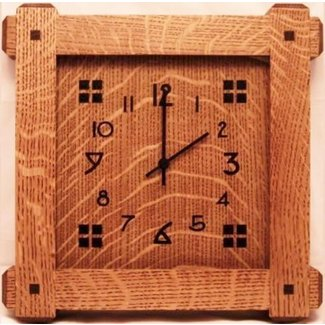 Mission style qtrsawn white oak wall clock wood face 1