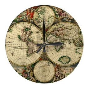 Old world wall clocks foter old world antique map wall clock on gumiabroncs Choice Image