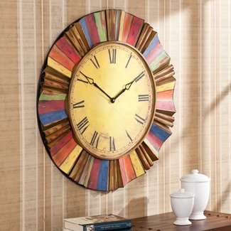 Oversized wall clock rustic metal western decor vintage colorful art