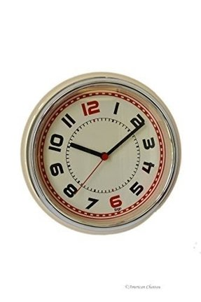Retro 50S 50'S Contemporary Beige/Cream Designer Kitchen Wall Clock Diner Decor