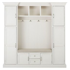 "Royce All in one Mudroom, 81""Hx79""Wx17""D, POLAR WHITE"