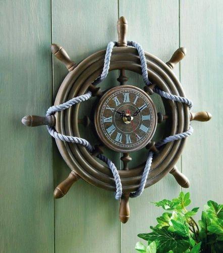 High Quality Rustic Ship Wheel Decorative Nautical Wall Clock