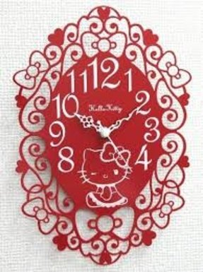 Silhouette wall clock ( wall clock ) Red Hello Kitty