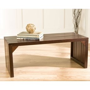 Southern Enterprises Slat Bench/Table, Espresso, Wood