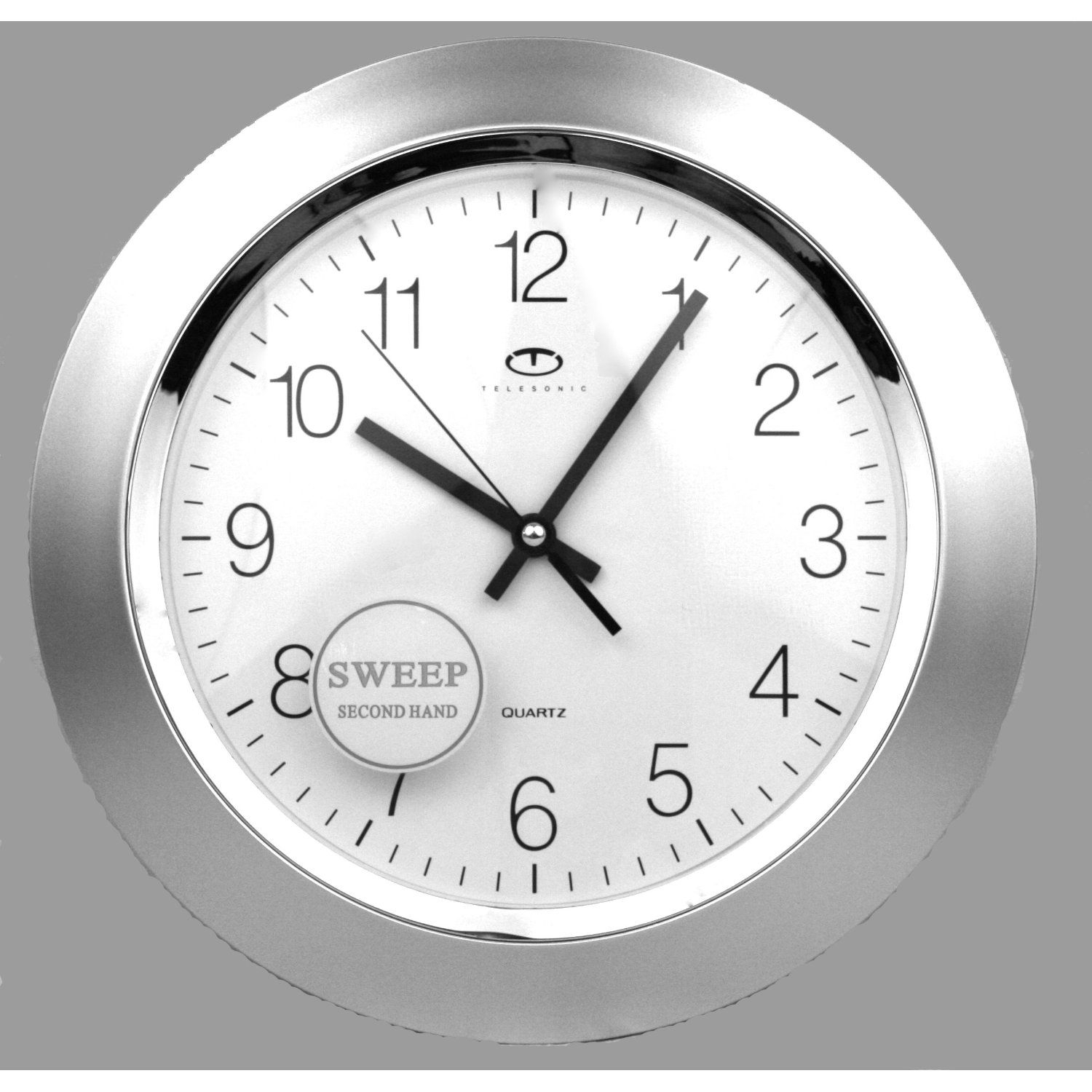 Telesonic silver quartz wall clock w quiet sweep second hand