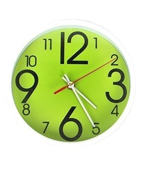 The Quirky Lime Round Wall Clock with White Rim
