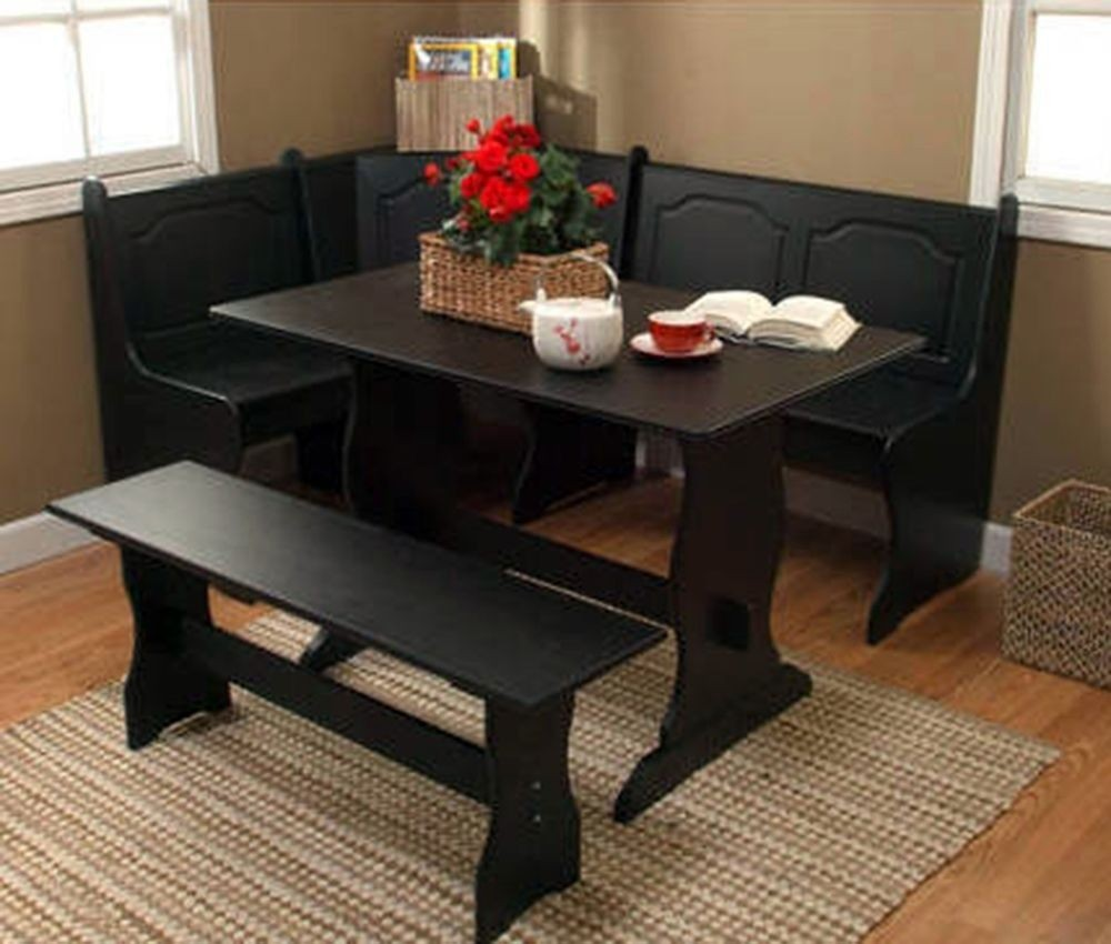 TMS 3 Piece Nook Dining Set, Black