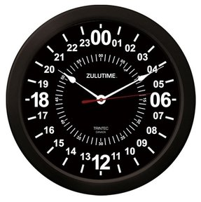 "Trintec 24 Hour Military Time Zulu Time Wall Clock 14"" - ZT24 Black"