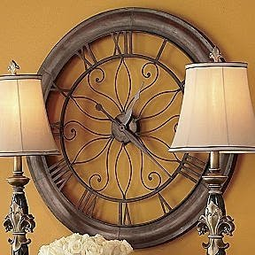 Tuscan Extra Large Open Scroll Gallery Wall Clock 30 Oversized Metal Scrolled 0