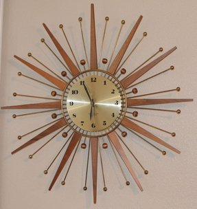 Vintage Westclox Nocord Atomic Wall Clock Starburst Retro Drama Works