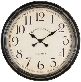 Wall Clock with Glass Covered Face in Aged Black Finish