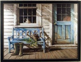 Blue Bench Front Porch Flower Watering Can Framed Print