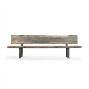 Boulder Reclaimed Wood Heavy Iron Rustic Slab Long Bench