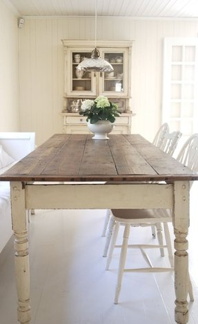 Farmhouse dining table with bench 1