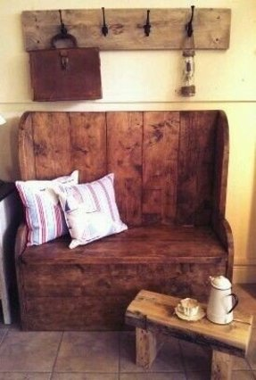 Handmade reclaimed scaffolding boards timber settle monks bench