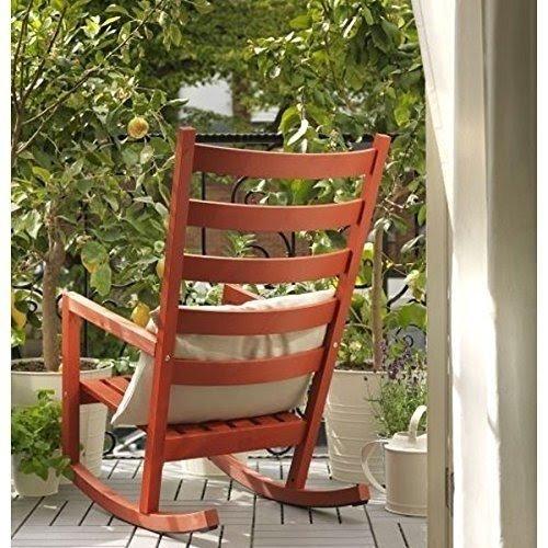Ikea Red Varmdo Wood Rocking Chair , Indoor Or Outdoor Use