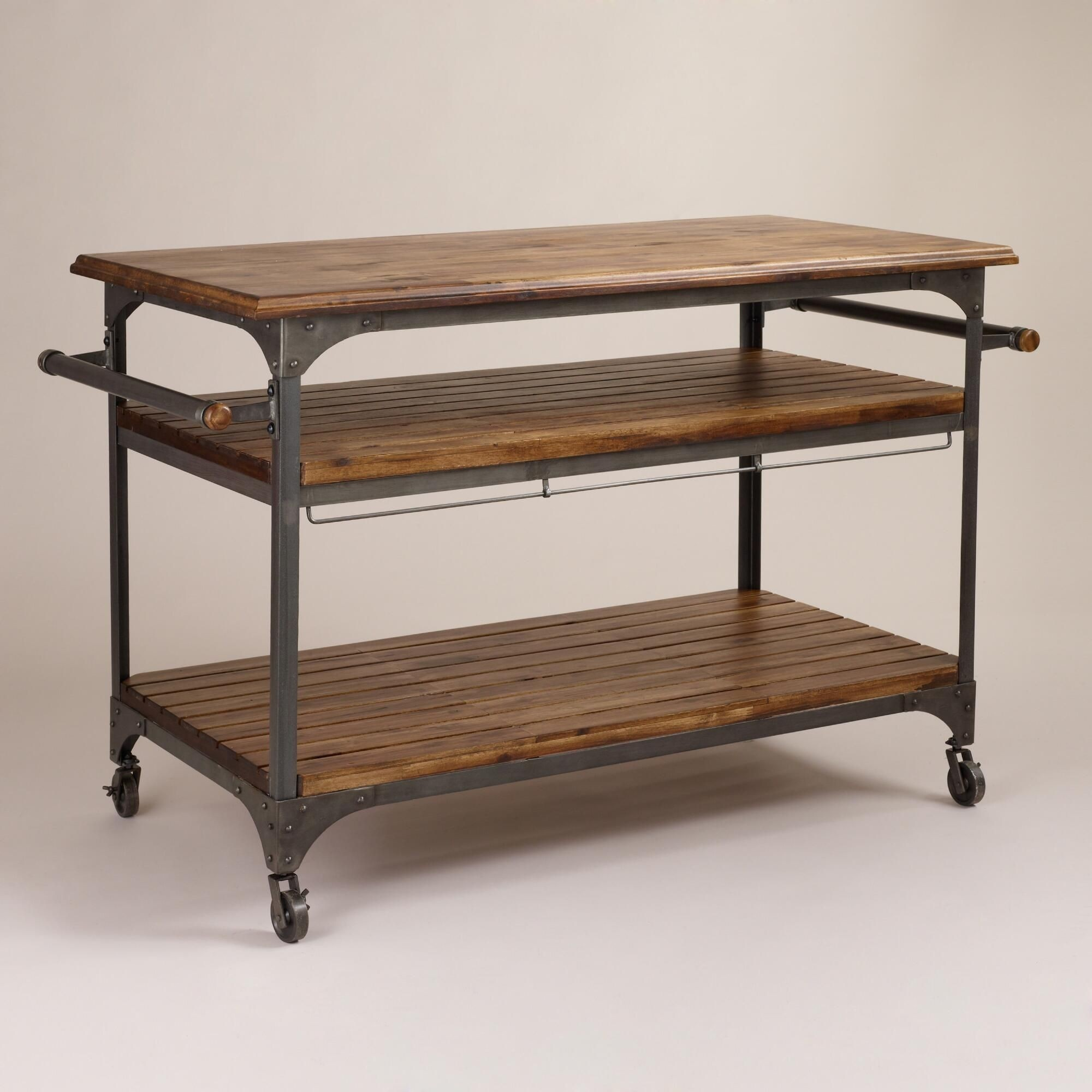 Wooden Kitchen Cart Island Utility Serving Rolling Cart w ...