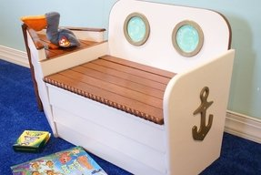 Nautical toy box boat toy box boat bench