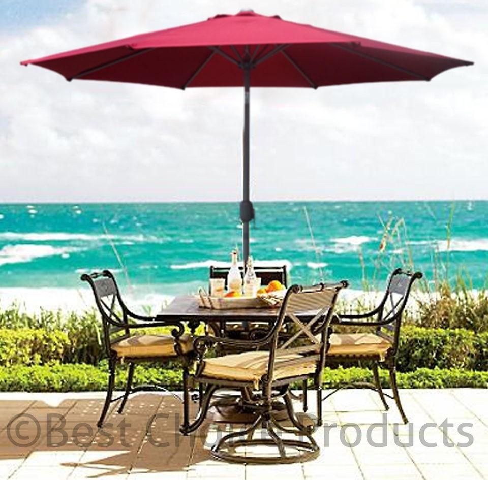 Patio Umbrella 9u0027 Aluminum Patio Market Umbrella Tilt W/ Crank Outdoor Beige