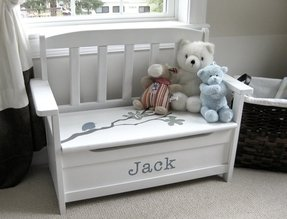 Personalized toy chest bench