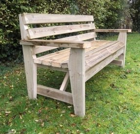 Red wood bench