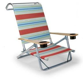 Telescope Casual Original Mini-Sun Chaise Folding Beach Arm Chair with Cup Holders, Atlantic Blue Stripe