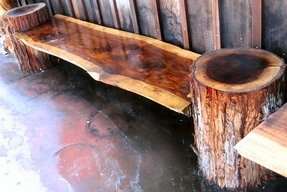 Unfinished wooden benches