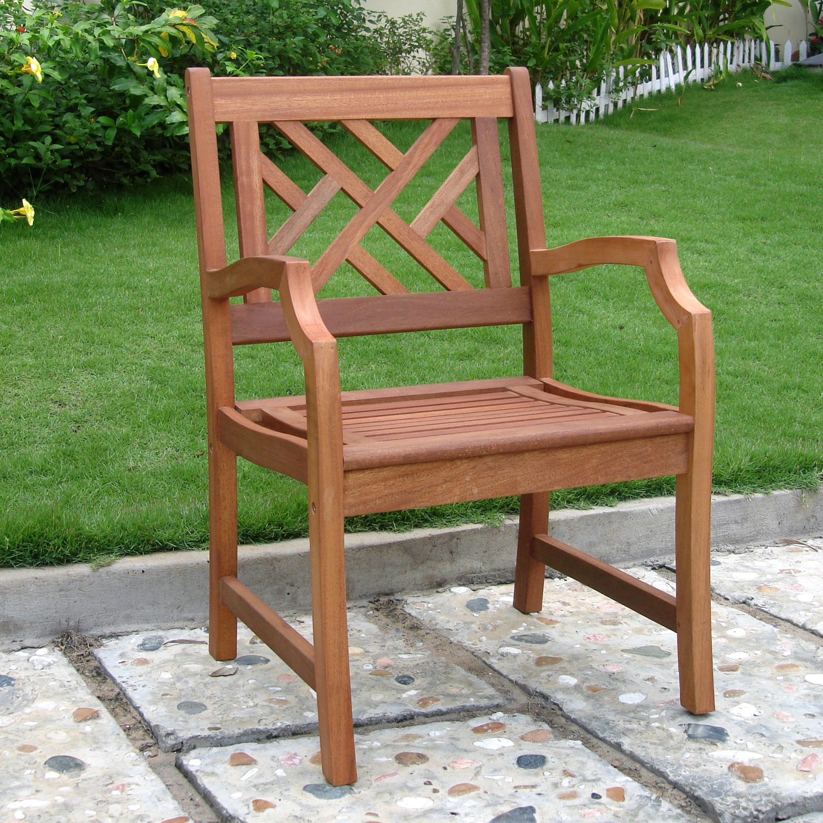 Ordinaire VIFAH Outdoor Wood Arm Chair, Natural Wood Finish
