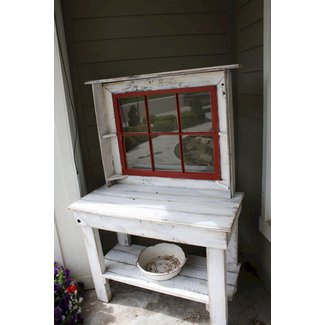 White potting benchhutch with red window