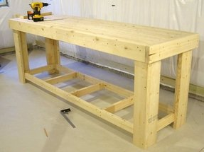 Wooden workshop benches