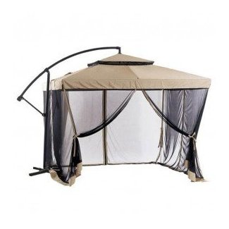 8.5' Square Cantilever Umbrella with Removable Walls - Taupe Sand