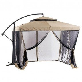 8.5u0027 Square Cantilever Umbrella With Removable Walls   Taupe Sand