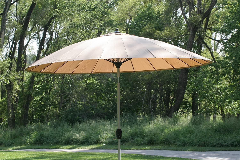 Marvelous 9 10u0027 Outdoor Wind Resistant Patio Umbrella With Aluminum Pole   Tan