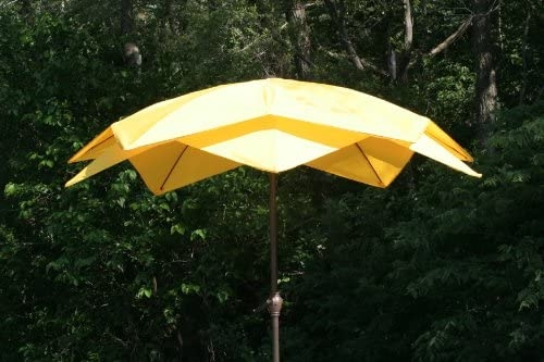 9u0027 Outdoor Lotus Fiberglass Wind Resistant Patio Umbrella   Yellow