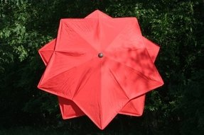 9' Wind Resistant Lotus Fiberglass Patio Umbrella - Red