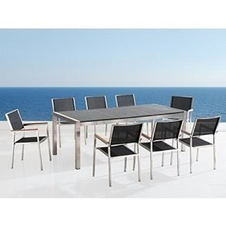 Beliani Grosseto Patio Stainless Steel and Granite Dining Table, 87-Inch, Black