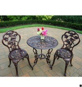 Bistro Set Outdoor Patio Furniture 3 Piece Rose Pattern Brown